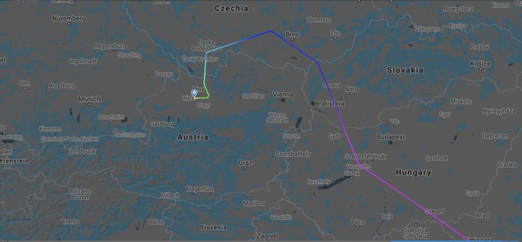 Wegen Gewitter gab es ein ungewöhnliches Routing über Tschechien.